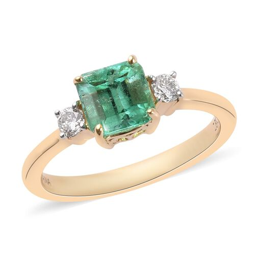 ILIANA 1.39 Ct AAA Boyaca Colombian Emerald and Diamond Solitaire Ring in 18K Gold SI GH