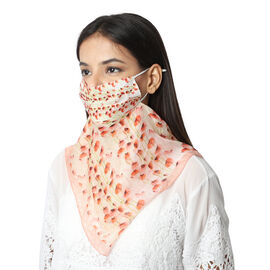2 in 1 Flower Pattern 100% Mulberry Silk Scarf and Protective Face Covering in Peach and Multi Colou