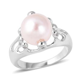 LucyQ 10-10.5mm Edison Pearl and White Topaz Solitaire Ring in Silver