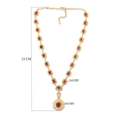 African Ruby Necklace (Size 18 with 2 inch Extender) in 14K Gold Overlay Sterling Silver 15.75 Ct, Silver wt 32.00 Gms