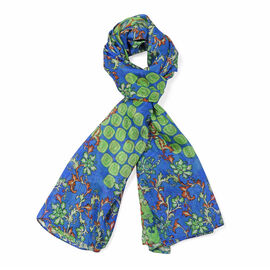 La Marey 100% Mulberry Silk Floral Vine Pattern Scarf (Size 180x110Cm) - Green and Blue