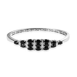 8.75 Ct Boi Ploi Black Spinel Sleek Bangle in Platinum Plated 7.5 Inch