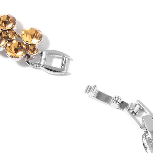 One Time Deal-Champagne Colour Austrian Crystal (Rnd) Bracelet (Size 7.5) in Silver Plated