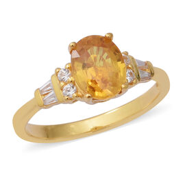 2.74 Ct Yellow Sapphire and Zircon Soilitaire Design Ring in Gold Plated Silver