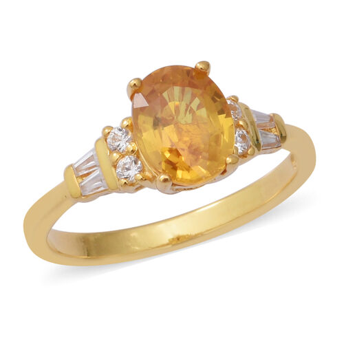 2.74 Ct Yellow Sapphire and Zircon Ring in Gold Plated Silver