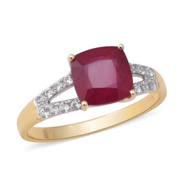 9K Yellow Gold AAA African Ruby (Cush), Natural White Cambodian Zircon Ring 4.14 Ct.
