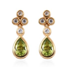Hebei Peridot (Pear), Natural Cambodian Zircon Earrings in 14K Gold Overlay Sterling Silver 3.50 Ct.
