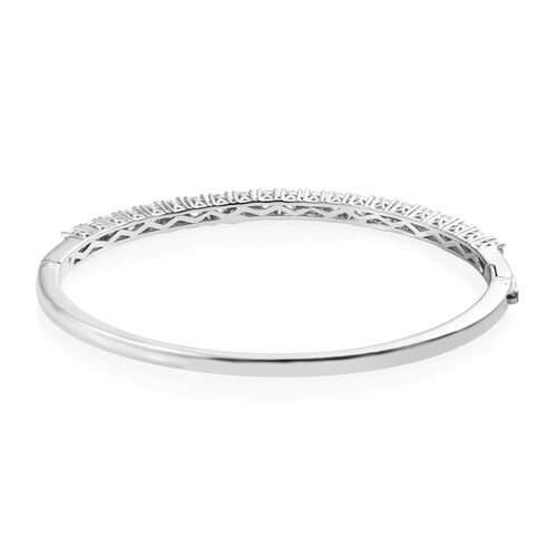 Super Auction - J Francis Platinum Overlay Sterling Silver (Rnd) Bangle (Size 7.5) Made with SWAROVSKI ZIRCONIA, Silver wt 14.90 Gms.