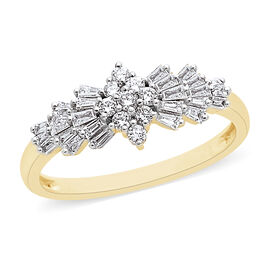 ILIANA 18K Yellow Gold Diamond IGI Certified (Bgt and Rnd) (SI /G-H) Ballerina Ring 0.500 Ct.