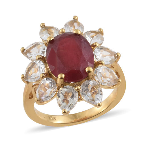 African Ruby (Ovl 5.50 Ct), White Topaz Sun Flower Ring in 14K Gold Overlay Sterling Silver 9.500 Ct