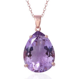 Rose De France Amethyst (Pear 20x15 mm) Pendant With Chain in Rose Gold Overlay Sterling Silver 14.4