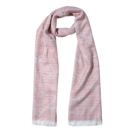 Dark Pink and Multi Colour Star Pettern Scarf (Size 180x68 Cm)