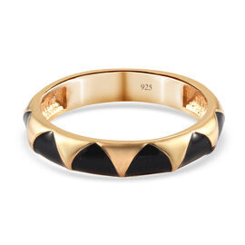 Band Ring with Enamelled in 14K Gold Overlay Sterling Silver