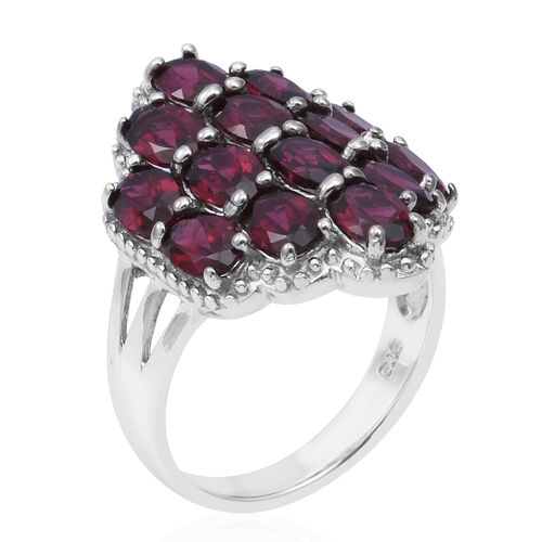 One Time Deal- Orissa Rhodolite Garnet (Ovl) Cluster Ring in Rhodium Overlay Sterling Silver 8.00 Ct.