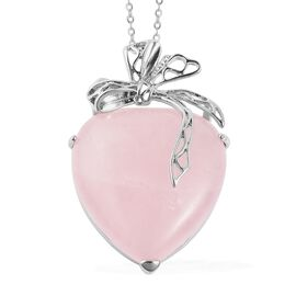 Rose Quartz Bowknot Heart Pendant with Chain (Size 24) in Stainless Steel 50.00 Ct.
