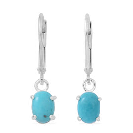 Special Deal- American Turquoise (Ovl) Lever Back Earrings in Rhodium Plated Sterling Silver 1.500 Ct.