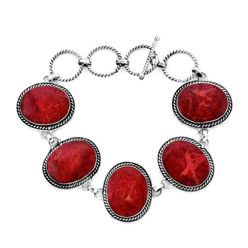 Royal Bali Sponge Coral Bracelet with T Bar Clasp in Silver 9.50 Grams 6 with 1 inch Extender