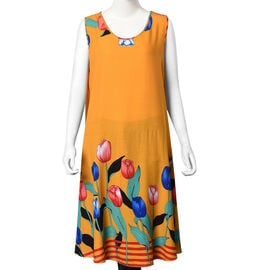100% Cotton Tulip Pattern Sundress with Billowing Bottom (Size 105x55 Cm) - Mustard