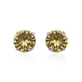ELANZA Yellow Cubic Zirconia Solitaire Stud Earrings in Sterling Silver