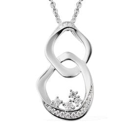 LucyQ Fluid Collection - Moissanite Pendant With Chain (Size 30) in Rhodium Overlay Sterling Silver,
