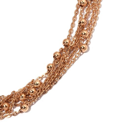 Designer Inspired-Waterfall Multi Row Collar Necklace in Rose Plated (Size 22)