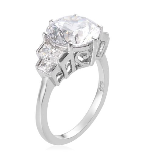 J Francis - Platinum Overlay Sterling Silver Ring Made with SWAROVSKI ZIRCONIA 7.62 Ct.