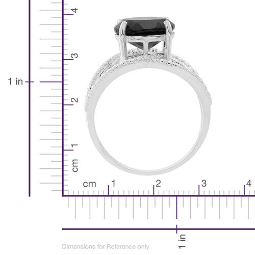 Boi Ploi Black Spinel (Rnd) Solitaire Ring in Sterling Silver 3.650 Ct., Silver wt 4.85 Gms.