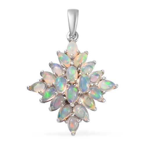 3 Carat Ethiopian Welo Opal Cluster Pendant in Platinum Plated Sterling Silver