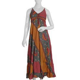 Red and Multicolour Flared Hem Boho Dress (Size M/L)