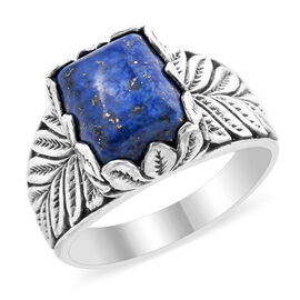 Royal Bali Collection - Lapis lazuli (Cush 12x10 mm) Ring in Sterling Silver 5.90 Ct, Silver wt 5.26