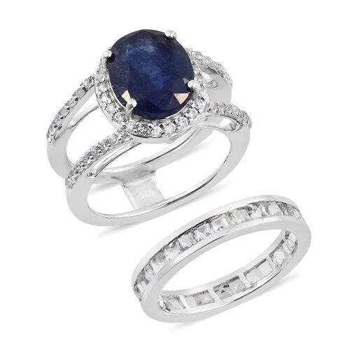 Masoala Sapphire (Ovl 4.50 Ct), White Topaz and Natural Cambodian Zircon 2 Ring Set in Platinum Overlay Sterling Silver 7.500 Ct. Silver wt 5.52 Gms.