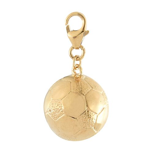 WEBEX- 14K Gold Overlay Sterling Silver Football Charm, Silver wt 5.54 Gms