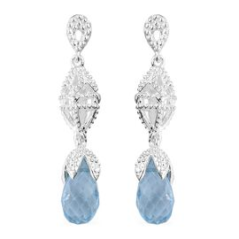Sky Blue Topaz Earrings (with Push Back) in Sterling Silver 5.000 Ct.