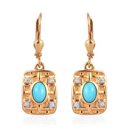 Arizona Sleeping Beauty Turquoise, Natural Cambodian Zircon Lever Back Drop Earrings in 14K Gold Ove
