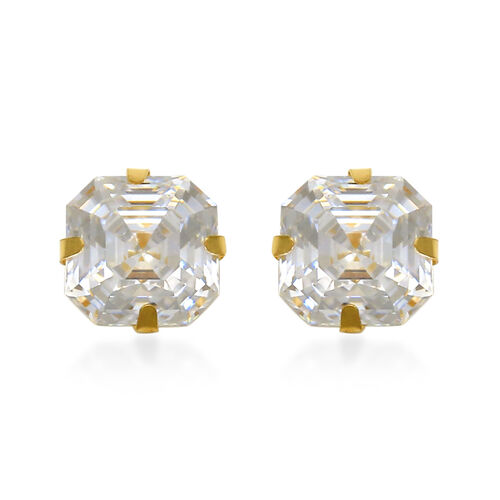 One Time Close Out Deal- 9K Yellow Gold Asscher Cut Swarovski Zirconia Earrings (with Push Back) 2.0