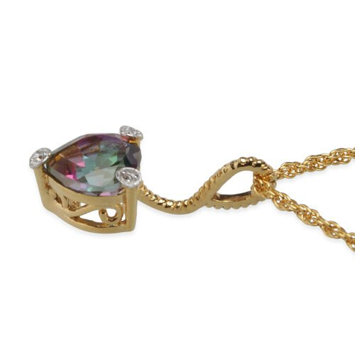 Mystic Coated Quartz (Hrt), Natural Cambodian Zircon Heart Pendant with Chain in Yellow Gold Overlay Sterling Silver 0.528 Ct.