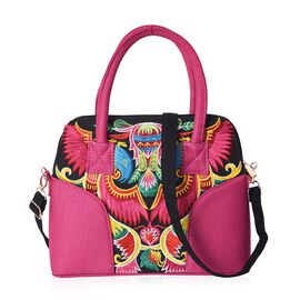 Fuchsia and Multicolour Pheonix Embroidery Pattern Tote Bag (Size 32x10.5x25 Cm) with Detachable Sho