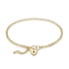 9K Yellow Gold Adjustable Padlock Round Belcher Adjustable Bracelet (Size 7-9)