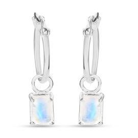 Rainbow Moonstone Earrings in Sterling Silver 1.40 Ct.