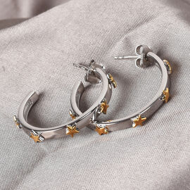 Sundays Child - Yellow Gold and Platinum Overlay Sterling Silver Star Hoop Earrings (with Push Back)