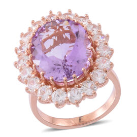 Designer Inspired- AAA Rose De France Amethyst (Ovl 16.00 Ct), Natural White Cambodian Zircon Ring in Rose Gold Overlay Sterling Silver 20.500 Ct., Silver wt 9.40 Gms.