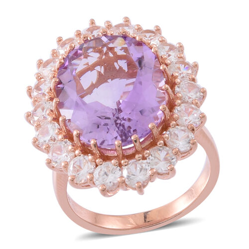 Designer Inspired- Rose De France Amethyst (Ovl 16.00 Ct), Natural White Cambodian Zircon Ring in Rose Gold Overlay Sterling Silver 20.500 Ct, Silver wt 9.40 Gms.