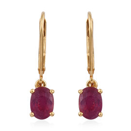 African Ruby (2.40 Ct) 14K Gold Overlay Sterling Silver Earring  2.250  Ct.