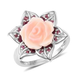 Jardin Mother of Pearl and Rhodolite Garnet Floral Rose Ring in Rhodium Plated Silver 5.6 Grams