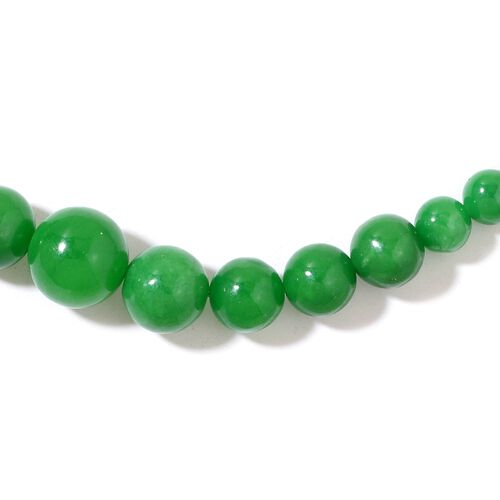 Burmese Green Jade Ball Necklace (Size 18 with 2 inch Extender) and Earrings in Rhodium Plated Sterling Silver 218.000 Ct.