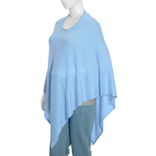 Limited Available - 100%  Cashmere Pashmina Wool Poncho -Blue (Free Size)