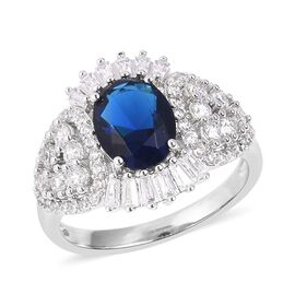 Simulated Blue Sapphire (Ovl), Simulated Diamond Ring in Silver Plated