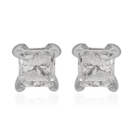 14K White Gold EGL Certified Diamond (Sqr) (I1-I2/G-H) Earrings (with Screw Back) 0.50 Ct.