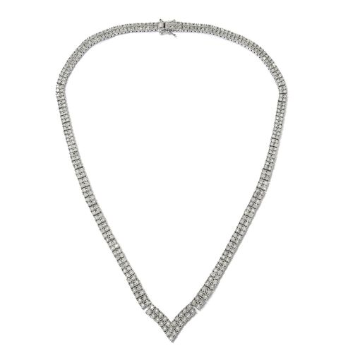 GP 2.02 Ct Diamond and Blue Sapphire Tennis Necklace in Platinum Plated Silver
