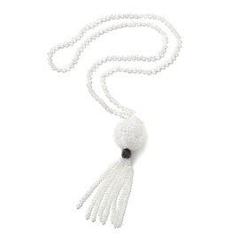 White and Hematite Colour Crystal with Simulated Diamond Lariat Tassel Necklace 31 Inch